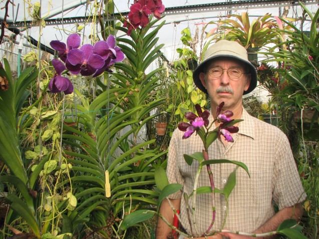Mark Dimmitt in his tropical greenhouse